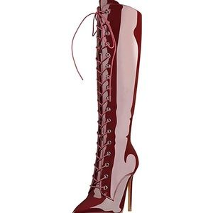 0993 Women's Knee High Lace Up High Shaft Heeled